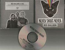 NEVER SHOUT NEVER Red Balloon 2015 PROMO DJ CD Single USA MINT w/ TOUR DATES