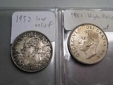 2 Variety CANADA Silver Twenty-five cent. 25c. 1952 Low Relief & 1951 Hi Relief