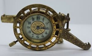 Antique 1800's Figural Brass Cannon Novelty Shelf Clock British United Clock Co.