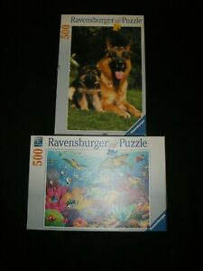 Ravensburger 2015 Tropical Waters/1996 German Shepherd 500 jigsaw puzzles RARE