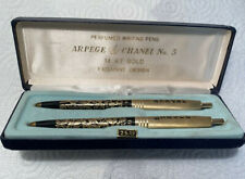 Vtg APERGE & CHANEL No. 5 Perfumed Writing Pens 14KT Gold Filigree