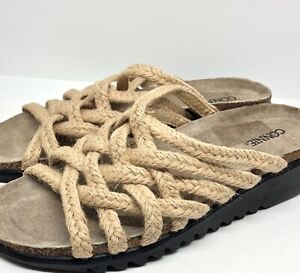 Vintage Connie Rope Slides Strappy Sandals Womens Size 10 Wedges Tan Beige Shoes