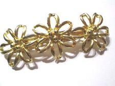 VINTAGE HAIR BARRETTE CARVED METAL FLOWER DESIGN VINTAGE