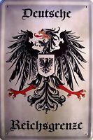 Deutsche Reichsgrenze Blechschild Schild gewölbt Metal Tin Sign 20 x 30 cm