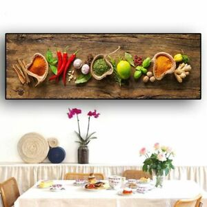 Wall Art Food Picture Grains Spices Spoon Peppers Kitchen Canvas Painting Room