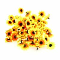 100pcs Lifelike Artificial Plastic Yellow Sunflower Heads Home Party Decoration