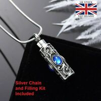 Vintage Silver Cremation Ashes Necklace Jewellery Memorial Urn Pendant - Blue