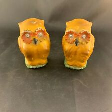 (2) Vintage Occupied Japan Pottery Owl Bird Cage Feeders Pottery Porcelain