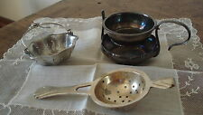 Lot de 3 passe-thé anciens métal argenté + 2 dessous de carafe dont 1 Christofle