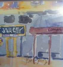 """Framed Watercolor Storefront Java City Comedy Works Painting J Saligbry? 9""""x11"""""""