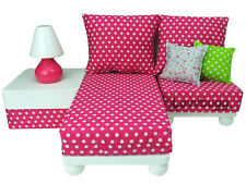 "Pink Chaise Lounge Chair Sofa Love Seat Furniture Set for 18"" American Girl Doll"