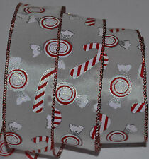 Wired Ribbon~Christmas Candy Cane~Holiday Peppermint~Red~White~Wreath~Gift~Bow