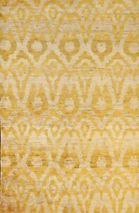Geometric GOLD IVORY Moroccan Abstract Oriental Area Rug Hand-knotted 6x9 carpet