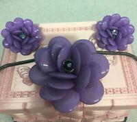 Joan Rivers~Purple Swarovski/Acrylic Flower Pendent Necklace & Clip Earring Set