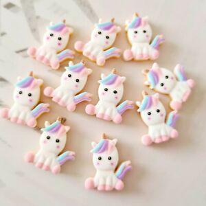 Pack of 10 Unicorn Cookie Flatbacks, Resins for Bow Making, Embellishments