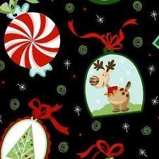 PEPPERMINT TWIST REINDEER SANTA PEPPERMINT CANDY CHRISTMAS FABRIC