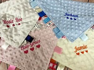 Personalised Embroidered Baby Ribbon Sensory Taggie Taggy Comforter Blankie Gift