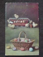 BABY CHICKS CLIMBING ALL OVER EASTERVILLE R.R. TOY TROLLEY Vtg EASTER POSTCARD