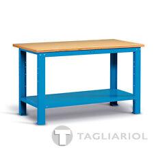 BANCO DA LAVORO BLU CON PIANO IN LEGNO PER OFFICINA MIAL IDEAONE 05 041