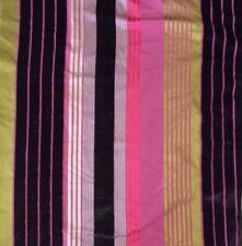DESIGNERS GUILD Silk Stripe Velvet Green Pink Purple Remnant New