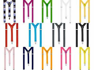 Suspenders One Size Fully Adjustable Y Shaped Elastic Braces Strong Clips Unisex