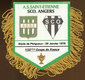 PETIT FANION 10*9 CM AS.SAINT-ETIENNE Vs SCO.ANGERS 1/32 COUPE DE FRANCE 1978