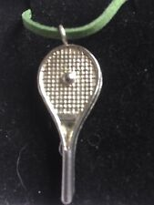 "Tennis Ball On Bat TG224 Fine English Pewter On 18"" Green Cord Necklace"