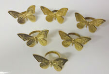 Vintage Solid Brass Art 6 pc Butterfly Napkin Rings Holders Tableware Dinner