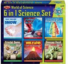NEW 6 IN 1 SCIENCE SET VOLCANO TORNADO CRYSTAL GEMS DINOSAUR FOSSIL SNOW TOY KIT