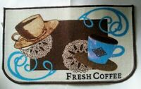 "Fresh Coffee Theme Kitchen Mat Rug 18"" x 30"" Kitchen Home Decor Blue Tan Brown"