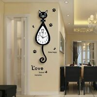 Glass Crystal Wall Clock Home Living Room Bedroom Decoration Cat Patterned Watch
