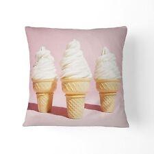 Pastel PINK Ice Cream Design Cotton Home Decor CUSHION COVER Throw Pillow 45cm