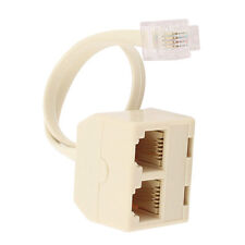 RJ11 6P4C 2 Way Outlet Telephone Jack Line Splitter Adapter Beige