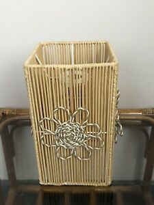 Vintage Style Bamboo Small Lampshade Floral Boho Tiki