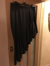 Boohoo Plus Black Satin Asymmetric Ruffle Midi Skirt Size 24