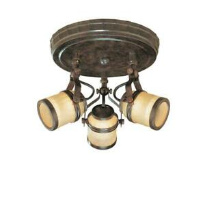 Hampton Bay 9 in. 3-Light Iron Oxide Semi-Flush Mount with Chiseled Glass Shades