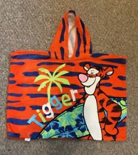 Disney Tigger Kids Hooded Poncho Beach/Bath Towel 100% Cotton