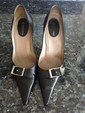"SERGIO ROSSI, BLACK LEATHER PUMP, WOMEN SIZE 9 M, 4 1/4"" HIGH, MADE IN ITALY"