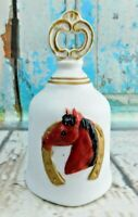"Vintage Porcelain or Ceramic Horse Head Horse Shoe Figurine Bell 5"" Tall"