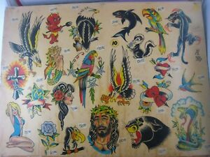 Large 20'' x 15'' Parlor-Used Tattoo Flash ' 22 VINTAGE IMAGES ' Hand Colored