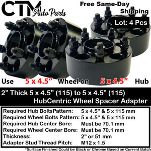 """4PC 2"""" THICK 5X4.5""""(115) 70 HUBCENTRIC WHEEL SPACER ADAPTER FIT NSX S2000 & MORE"""