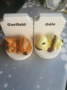 Rare Garfield And odie Ceramic books ends vintage 80s enesco