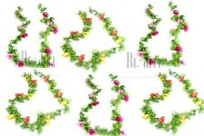 18 Heads Beautiful SWEET ANEMONE Artificial Flower Garlands With Green Flowers