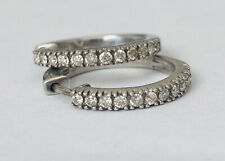 Vintage 925 Sterling Silver Real Diamond Hoop Huggie Earrings