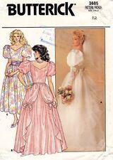 1980's VTG Butterick Misses' Bridal Gown, Dress Pattern 3685 Size 12 UNCUT