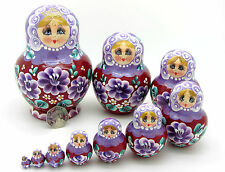 Poupées gigognes russes 10 Babushka peint main violet lilas simakova ネスティングドール