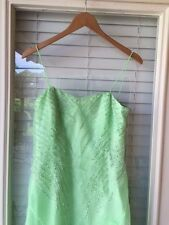 Size 10, Lime Green, Beaded, Long Prom Dress