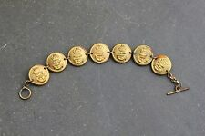 ROYAL NAVY LADIES SWEETHEART BRACELET WW2 GILT BRASS OFFICERS BUTTONS