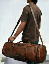 Bag Duffel Gunuine Brown Leather Retro vintage Big Round duffle travel gym bag