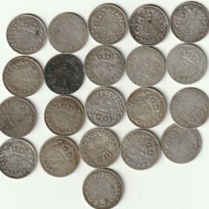 21  PRE 1920 SILVER THREEPENCE 3d COINS.   ALL QUEEN VICTORIA,